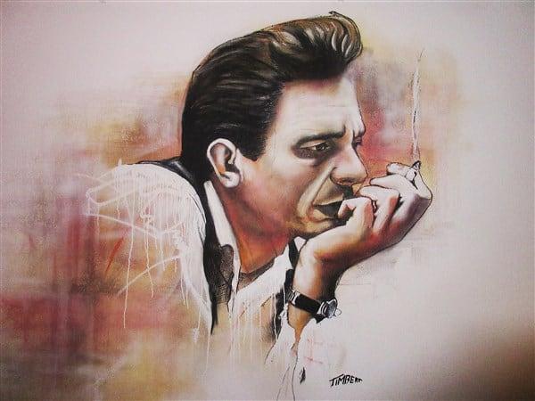 muurschildering kleur acryl portret Johnny cash(450 x 600)