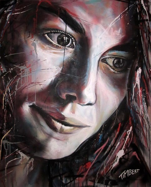 portret op doek Lotte spuitbus en stift graffiti streetart spraypaint gezicht kleur abstract eigen stijl Timbert kunstenaar kunst art artwork