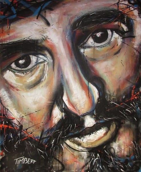 schilderij Portret dictator cubaFidel Castro acryl canvas kleur (492 x 600)