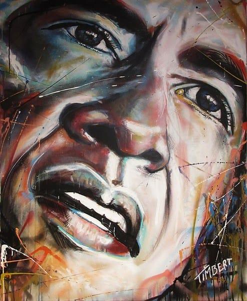 schilderij Portret president Verenigde state Barack Obama canvas acryl kleur spuitbus stift waterbasis Timbert kunstwerk