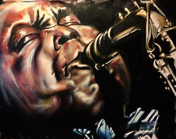 portret schilderij jazz legende Charley Parker saxofoon blaasinstrument spuitbus stift expressief realistisch Timbert kunstenaar schilder