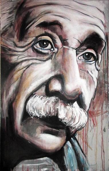 portret albert Einstein spuitbus stift op doen canvas wiskundige snor oud realistisch kunstwerk schilderij Timbert kleur