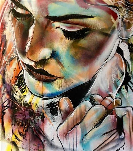 schilderij portret canvas experimenteel Kate Winslet acrylverf spuitbus stift acrtice Timbert kunst verf art