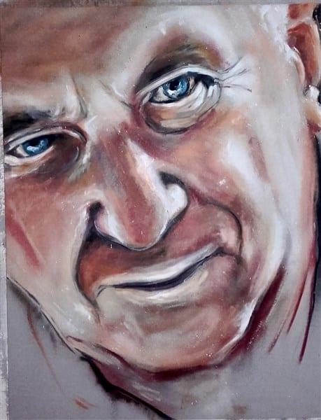 spuitbus en stift op doek kleurrijk abstract experimenteel portret vader ogen oud schilderij kunstenaar Timbert realistisch