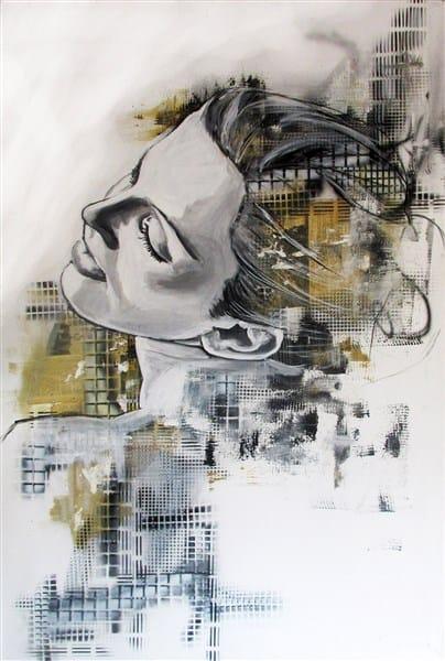 vrouw abstract portret experimenteel mooi schilder kranten doek canvas kunstenaar zwart wit achtergrond schilder Timbert