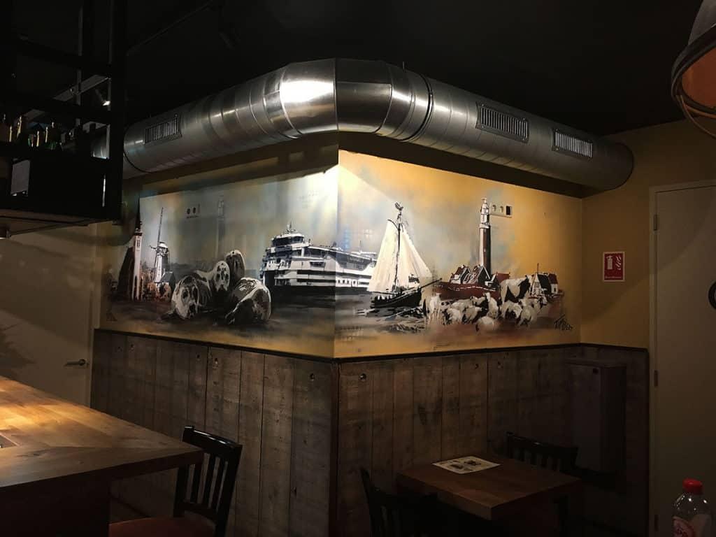 muurschildering Texel sjablonen en stencils hoek landmark spuitbus stift kleurrijk zwart wit zeehond vuurtoren kerk eiland schapen pont kunstenaar Timbert