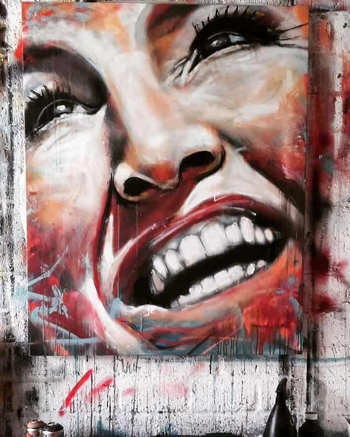 portret maxima met spuitbus en stift op acryl en waterbasis op doek realistisch gemaakt door Timbert