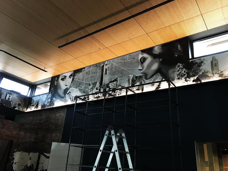 muurschildering restaurant koof beverwijk spuitbus en stift op acryl en waterbasis door Timbert