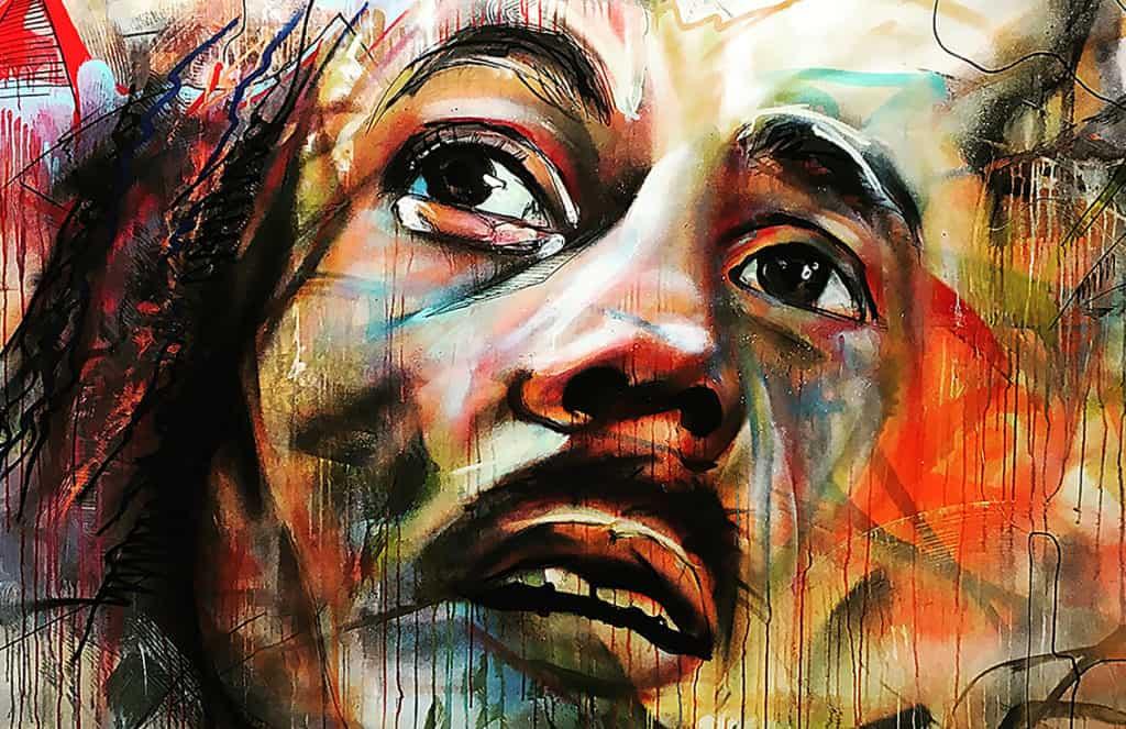 Portret geschilderd Bob Marley reggae legende icoon muziek spuitbus stift op doek acrylverf kunst schilderij experimenteel abstract