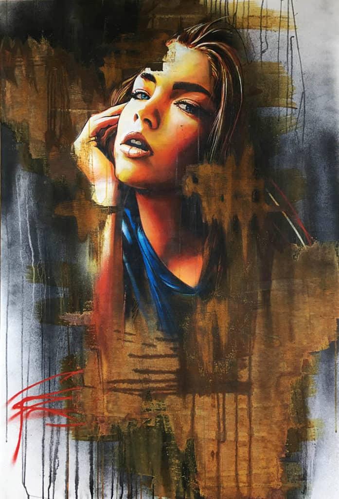 portret op doek spuitbus en stift experimenteel roestverd model abstracte achtergrond spuitbus en stift op acryl en waterbasis door timbert
