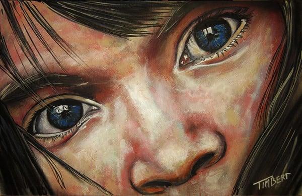 schilderij portret in opdracht, meisje up canvas acryl kleur spuitbus en stift, mixed media waterbasis canvas