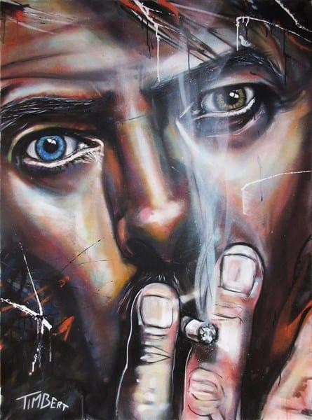 schilderij portret zanger muziekant David Bowie canvas acryl kleur spuitbus stift op doek door Timbert