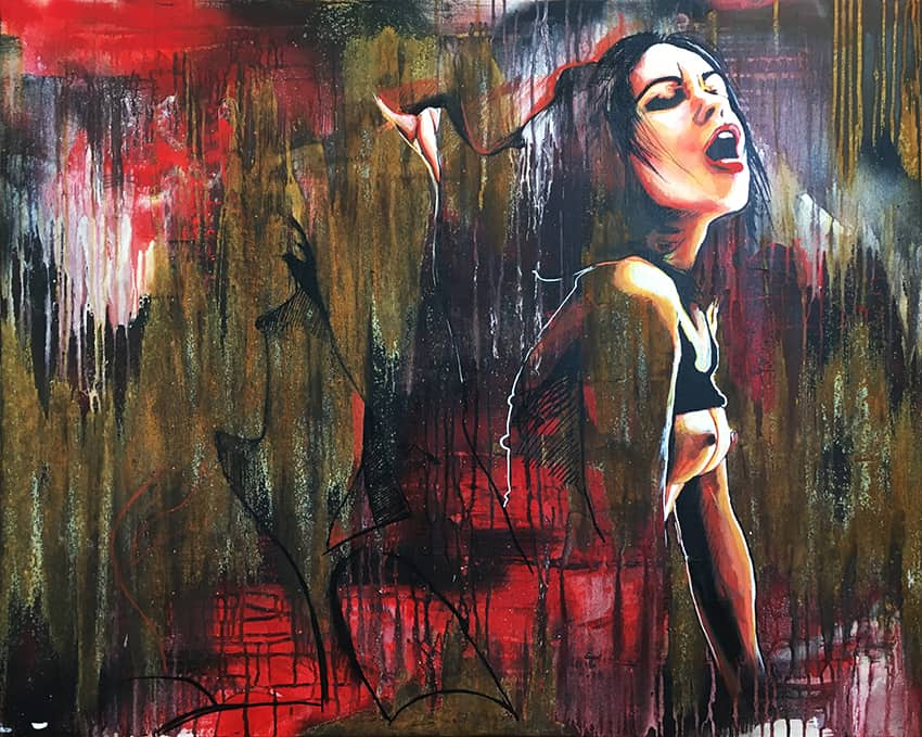 Erotisch portret schilderij kleur acrylverf en metaalverf op doek getiteld Gespleten schoonheid