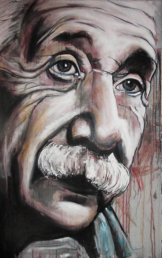 geschilderd portret wiskundige albert Einstein gemaakt met spuitbus en stift op doek op water en acrylbasis door timbert
