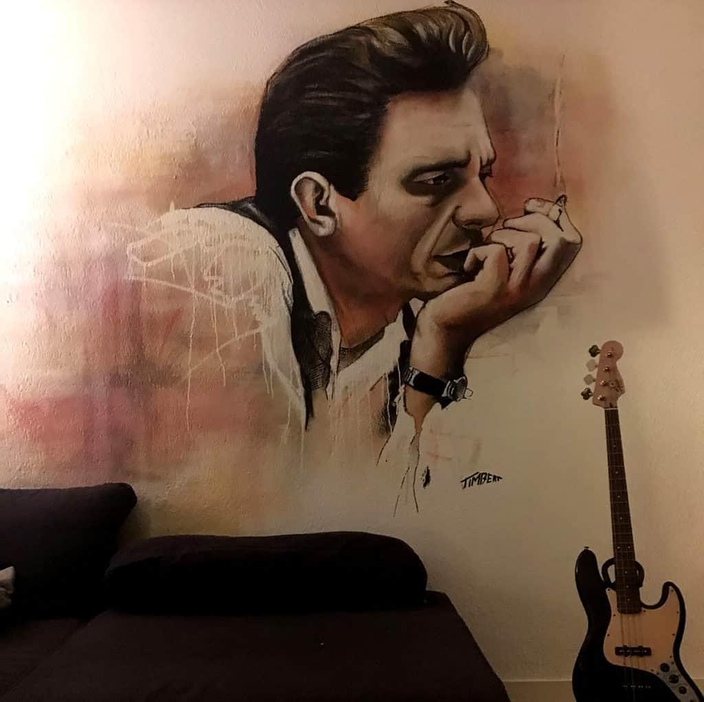 Johnny cash met gitaar vierkant