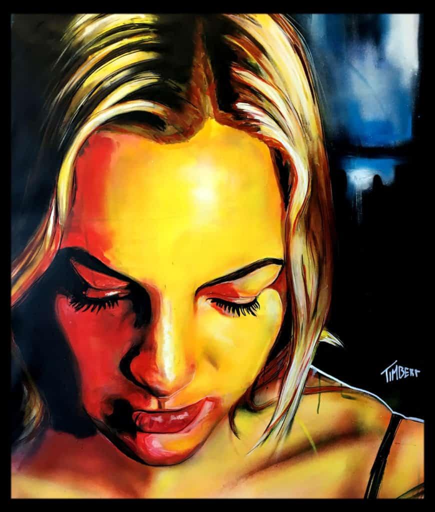 Portret schilderij Marthe spuitbus en stift op doek kleur door timbert
