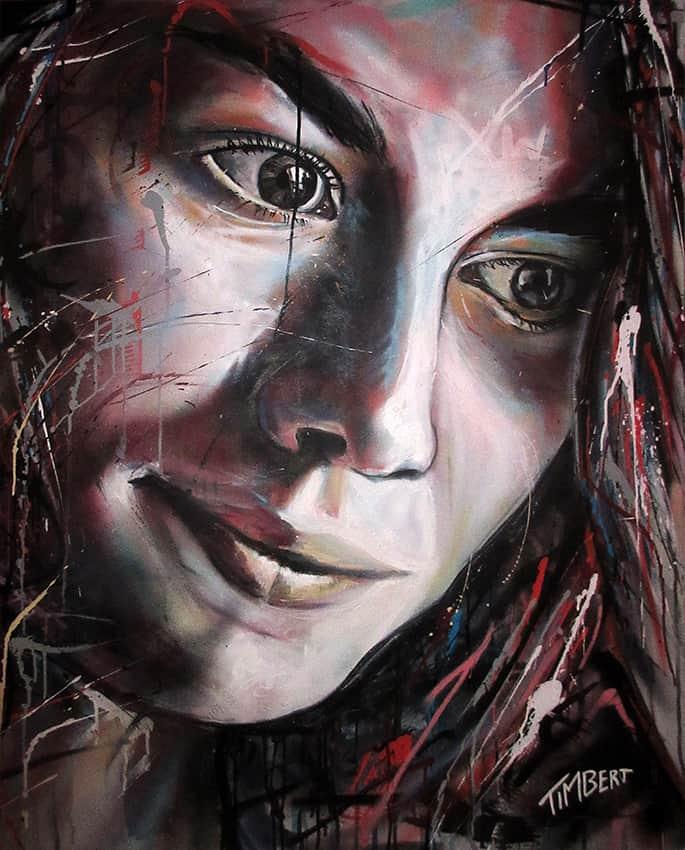 Portret schilderij huisgenoot Lotte Sam Terra spuitbus en stift op doek door timbert