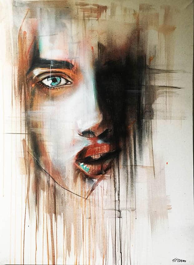 geschilderd abstract portret titel waterige schoonheid