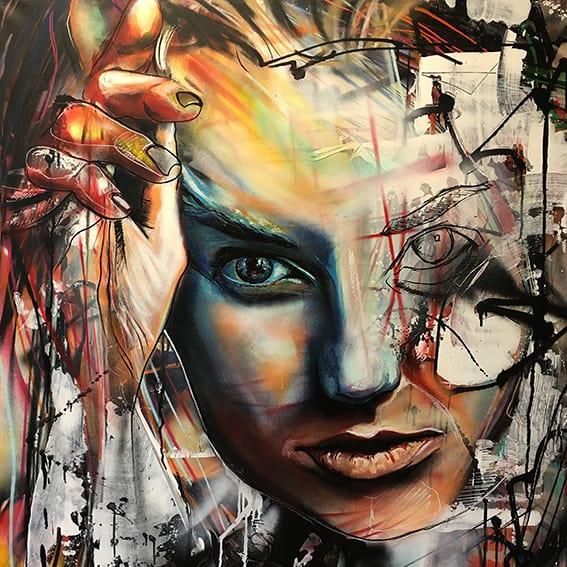 geschilderd portret vrouw abstract spuitbus