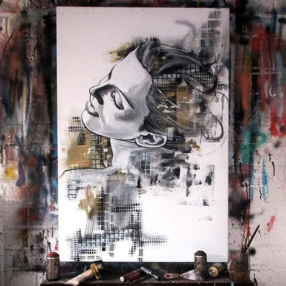 geschilderd portret vrouw abstracte achtergrond