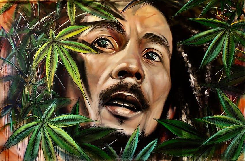 portret schilderij in opdracht Jamaicaanse reggea legende bob Marley spuitbus en stift op doek in kleur door timbert