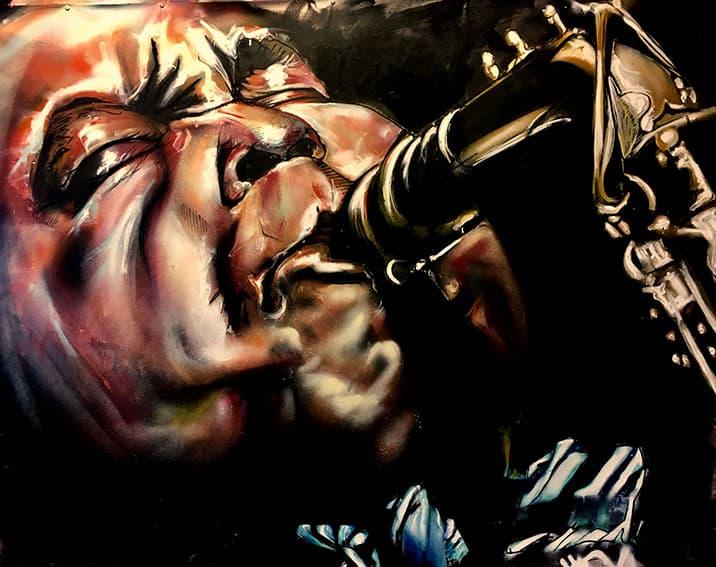 portret schilderij Jazz legende saxophonist Charley parker spuitbus en stift op doek in kleur door timbert
