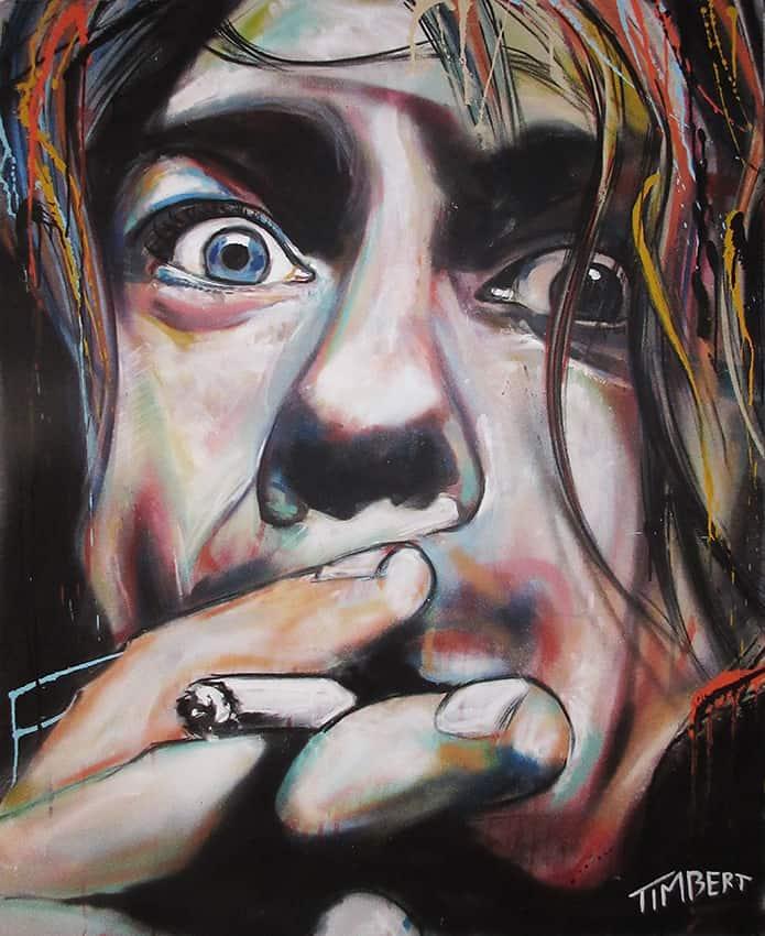 portret zanger artiest kurt cobain kleur acrylverf spuitbus en stift