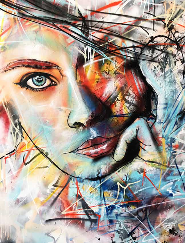 schilderij portret kleur canvas acryl experimenteel vrouw abstract 3