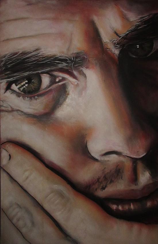 schilderij zelfportret in kleur van Timbert van der Rijst spuitbus en stift op doek acrylverf