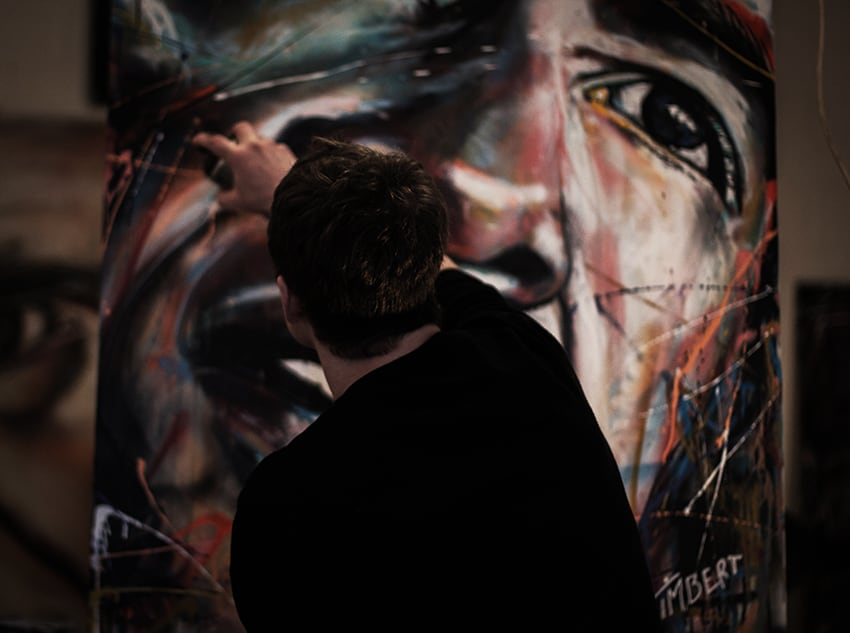 portret president barack Obama op doek schilderen met spuitbus en stift op acryl en waterbasis kunstenaar timbert