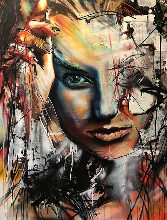 abstract portret vrouw op doek spuitbus stift acrylverf experimenteel expressief hoofd gezicht kleurrijk Android kunstwerk kunstenaar schilder Timbert